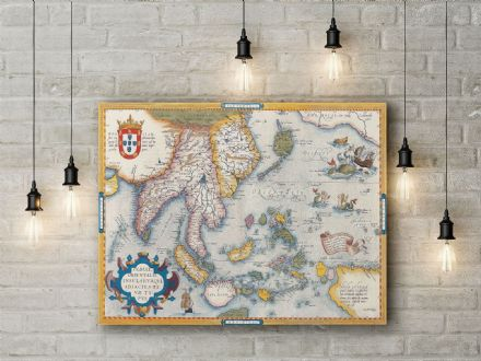 Abraham Ortelius: Map of South East Asia. Fine Art Canvas.